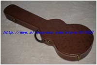 Guitar hard case - brown color with black lining inside  for LP style guitar, free add LOGO, not sold separately