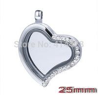 Wholesale 5PCS!New 25mm Rhinestone heart magnetic glass floating charm locket Zinc Alloy Free shipping