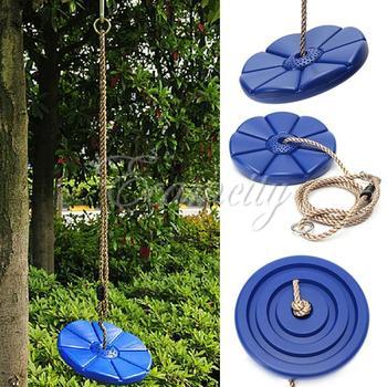 Популярные прочный пвх качели место Swingset вращающийся игра диск качели место дерево свинг диск синий сад дети детей игрушки