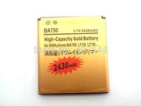 DHL  shipping 100pcs/Iot  Gold 2430mAh Battery For  Sony Ericsson BA800 BA 800   S Arc HD Nozomi LT26