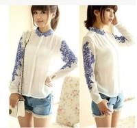 Women Casual Chiffon Blouses Lady Long Sleeve Blue And White Porcelain Print Chiffon Tops Shirt Blouses Free shipping