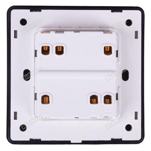bidwise New hot Modern Decorative Gloss Light Chrome Switch Button Plates Bedroom 2 Gang 2 Way Latest!(China (Mainland))