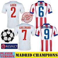 MANDZUKIC Griezmann Shirt Atletico 14 15 KOKE ARDA TURAN GODIN Madrid Home Away Gray Soccer Jerseys 2015 Camiseta Futbol Shirts