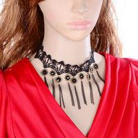 DL3334 Fashion Gothic black false collar short design tassel lace necklaces