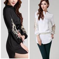 European Station High-end Embroidery Medium-Long Stand Collar Women Long Sleeve Shirts Plus Size M-XXXXL Black / White