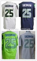 Cheap Seattle #25 Richard Sherman American Football Jerseys Home Navy Blue Road White Green Gray Stitched Jerseys Size M-XXXL