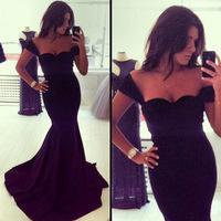 2014 New Long Evening Dress Formal Dresses Sweetheart Sleeveless Black fishtail Evening Dress Hot Sale Vestido De Festa Renda