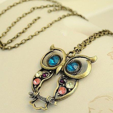 2015 Hot Selling Free shippping Big discount fashion vintage bronze Rhinestone owl Necklaces Statement jewelry for