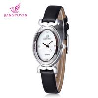 Skone Brand Rhinestone Shell Oval Dial Quartz Watch Hardlex Alloy Analog Girl Wristwatch With Quality PU Leather Band
