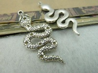 10Pcs 22*50mm Snake Charms Pendant Antique Silver Tone DIY Jewelry Making