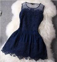 2014 Summer Euro Women fashion chiffon office dresses womens slim embroidery casual dress bodycon vestidos Free Shipping WXT321