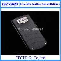 2015 New Luxury phone Crocodile leather Constellation V  Android 4.0.4  4.3 inch Multi language  VIP luxury phone smart phone