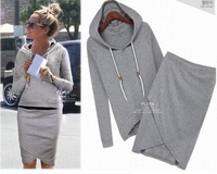 2014 new autumn summer 2pcs casual womendress suit baseball hoodies sweatshirt pullovers sportswear clothing set