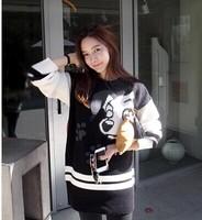 9199 o-neck pullover medium-long thickening sweater female