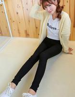 Drop Shipping Korea Style High Quality Elastic Leggings All Match Pencil Pants Woman Fashion Slim Pants Black and White Jeggings