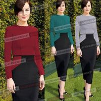2014 New Fashion Autumn Winter Women Elegant Patchwork Long Sleeve Celebrity Bandage Bodycon Party Evening Dresses Plus Size