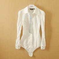 Fanshou Free Shipping 2015 Women Blouses Autumn Fashion Bodysuit Turn-down Collar Casual Shirt Women Sequined Blusas Femininas