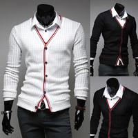 Classic Men Slim Fit V-neck Knit Sweater Cotton Cardigan Button Basic Coat Drop Free Shipping
