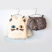 Lovely baby girls thicker woolen warm cartoon cat coat hoodies+ leopad short pants set 2 pcs cartoon leopad clothes set