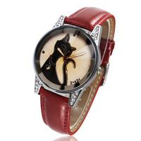 Fashion 2014 New Arrival Leather Strap Women Dress Watches Casual Quartz Cat Watches rhinestone Around 3 Colour Wristwatch 1081