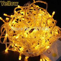 Holiday Outdoor 100pcs yellow LED String Lights 10M 220V 110V Christmas Xmas Wedding Party Decorations Garland Lighting