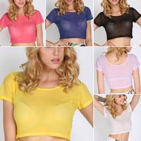 Summer Sexy Sheer Mesh Crop Tops Women Party Crop T-shirt Short Sleeve Blouse Free Drop Shipping Y9