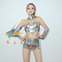 Ds costume fashion female singer dj space costumes silver patchwork laser set