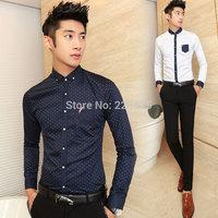 Men's Casual Long-sleeve Shirt Slim Fit Polka Dot Print Shirt Men Top Quality Camisas Hombre Size M-XXL Free Shipping