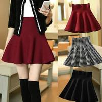 New 2014 Autumn Winter Female Pleated Skirts Woman High Waist Solid/Houndhstooth Woolen Skirt  Short Mini Skirt For Woman