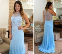 2015 New Arrival Blue Evening Dress Sheer Backless Lace Appliqued Floor Length Gown Chiffon Beaded Evening Long Dress For Party