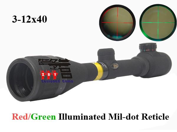 Bsa 3-12x40AO красный и зеленый подсветкой Mil dot охота прицел с 2 х 11 мм или 20 мм кольца гора / прицел Deerhunter