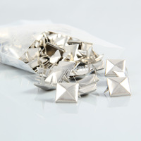 100pcs 12mm 2 Prongs Pyramid Studs Spots Spike Rivets Decorations Crafts