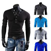 Fashion Mens Casual T-Shirts Long Sleeves Undershirts V-Neck Tee Tops Cotton  Free Drop Shipping Y9