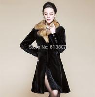 Free shipping, 2014 the new imitated mink fur female haining sable hair sable fox fur coat long coat collars