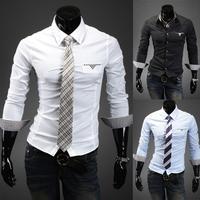 New Korean Cotton Slim Fit Long Sleeve Mens Dress Shirt 5031
