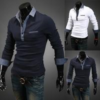 New Mens Slim Fit Denim Patchwork Lapel Long Sleeve T Shirt 5044