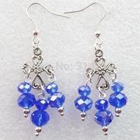 (Min.order 10$ mix)One Pair Super Star Fashion Girl Tibetan Cross With Dark Blue Crystal Handmade Earrings Wholesale Price