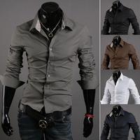 New Classic Pure Color Korean Mens Slim Fit Long Sleeve Dress Shirt 762