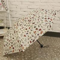 Teddy Bear Folding Umbrella Korean Style Female Triple Silver Coating UV Womens Rain Umbrellas
