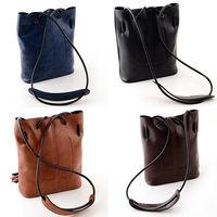 Classic Women Faux Leather Tassel Shoulder Bag Drawstring Hobo Cross Body Solid Drop Free Shipping