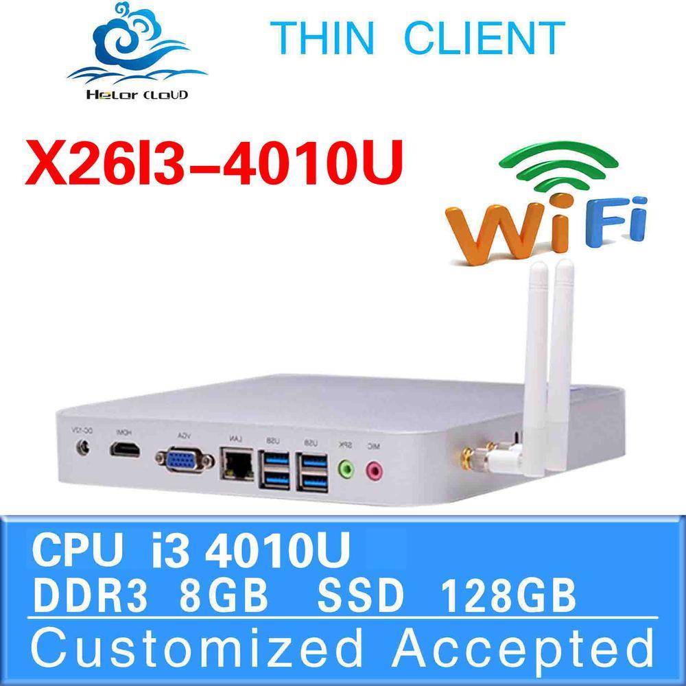 Highest cost effective i3 mini computer x26-i3 4010u fanless thin client 8g ram 128g ssd win7 embedded mini itx tv server(China (Mainland))