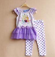 free shipping baby clothing girl bowknot girls short sleeve suits tunic top legging elsa anna dress purple love