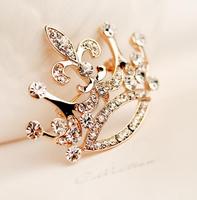 Korean fashion style high quality charming crystal retro big crown brooch 6pcs/lot