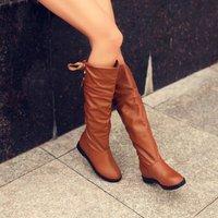 2014 flat heel boots female boots lacing medium-leg low-heeled fashion boots