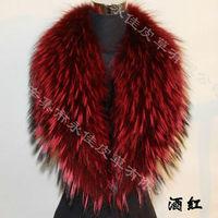 Hot! 80cm*15cm Genuine Raccoon Fur Collar big scarf neckwear women's accessories