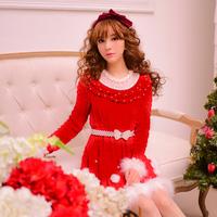 Princess sweet lolita dress Candy rain original winter Christmas new year Japanese style princess lace pearl red Knitted dress
