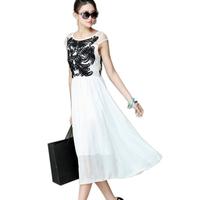2014 Summer Euro Women fashion chiffon office dresses womens slim embroidery casual dress bodycon vestidos Free Shipping WXT320