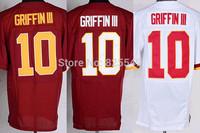Free Shipping Washington #10 Robert Griffin III Men's Elite Football Jerseys Red White Embroidery Logos,Size M-XXXL,From China