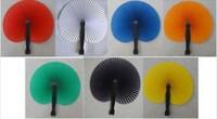 NEW ARRIVAL 7 colors  handmade paper hand folding fan for partyweddinghome decoration,7pcs