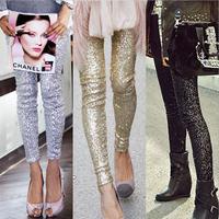 S-XL 2015 Plus Size Women's Leggings Fashion Bling Sequin Shining Gold Black Silver Spangle Sequin Formal Women Leggings